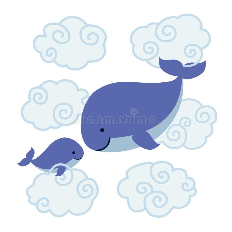 Милые киты шаржа - мать и младенец в облаках бесплатная иллюстрация