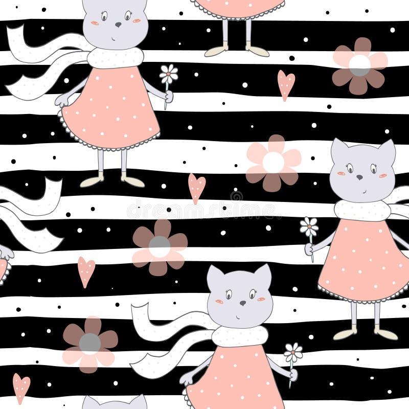 Милые коты с предпосылкой картины цветков красочной безшовной иллюстрация вектора