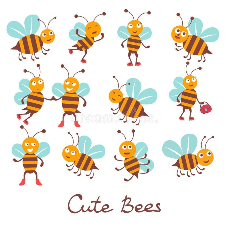 Милые красочные характеры пчелы бесплатная иллюстрация