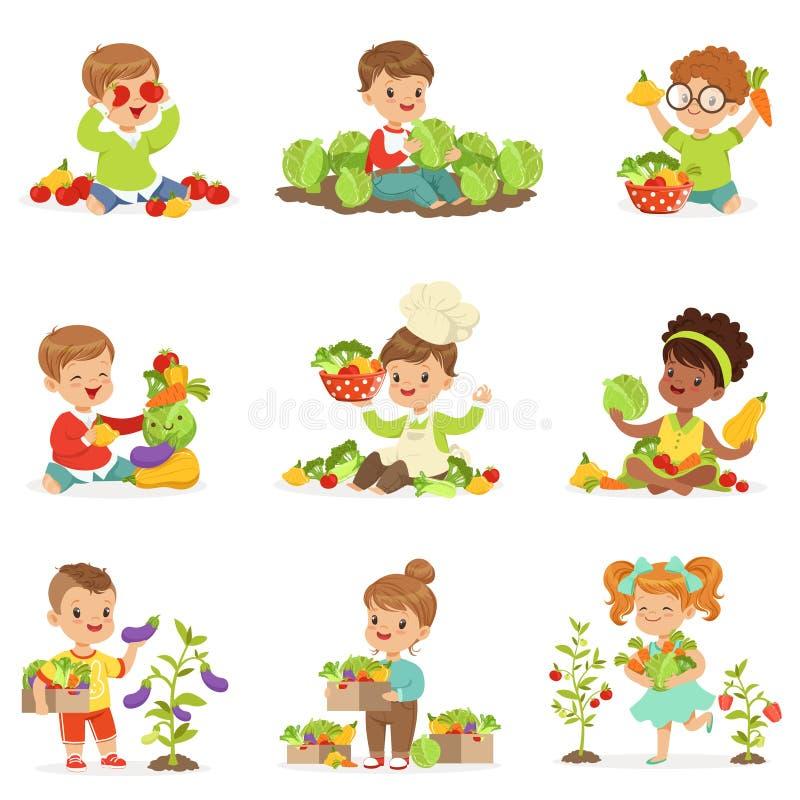 Милые маленькие дети играя, собирая и подготавливая овощи, комплект для дизайна ярлыка Красочное шаржа детальное иллюстрация штока