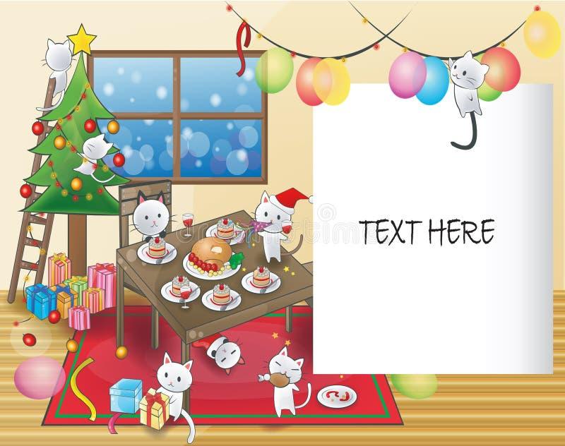 Милые маленькие коты празднуют рождественскую вечеринку иллюстрация штока