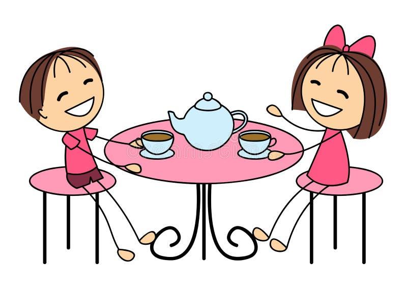 Милые маленькие ребеята выпивая чай иллюстрация вектора