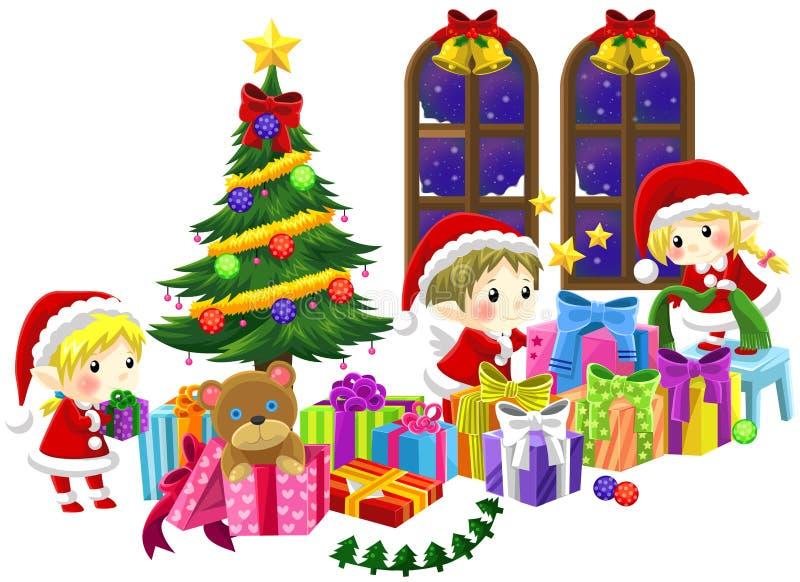 Милые маленькие эльфы празднуют рождество в изолированном backgrou иллюстрация вектора
