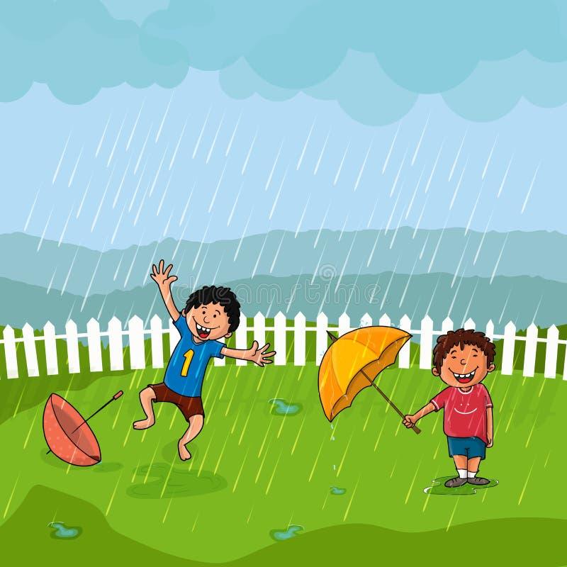 Милые мальчики в дожде на муссон приправляют концепцию бесплатная иллюстрация