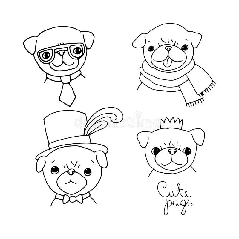 Милые мопсы Собаки иллюстрация штока
