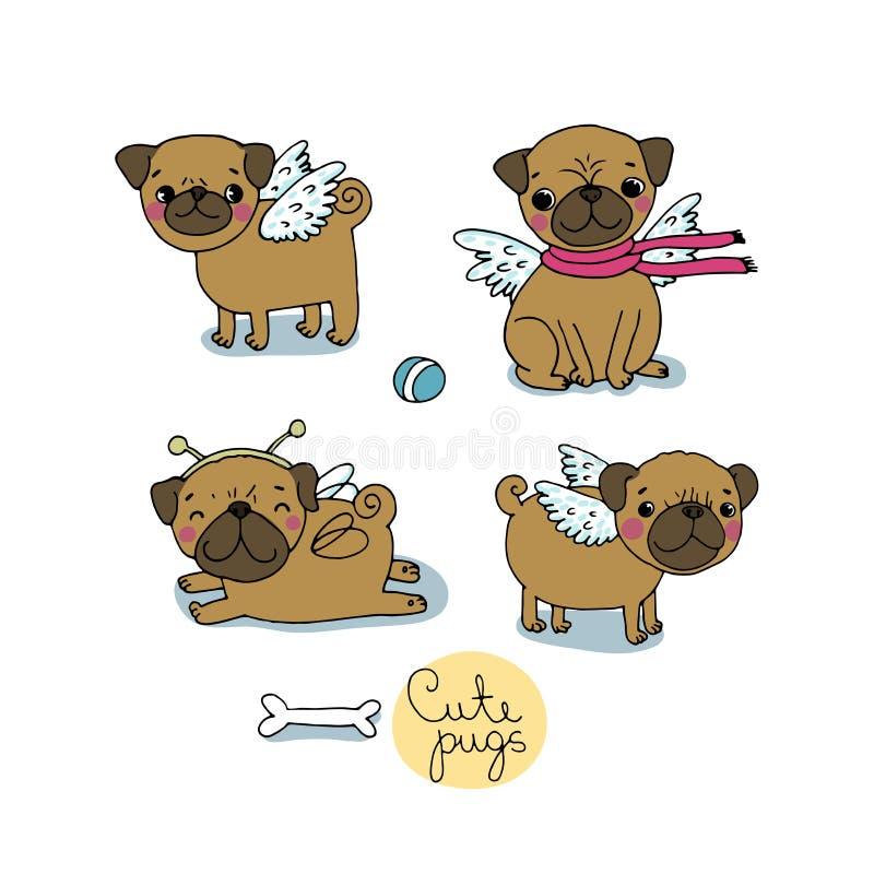 Милые мопсы Собаки иллюстрация вектора