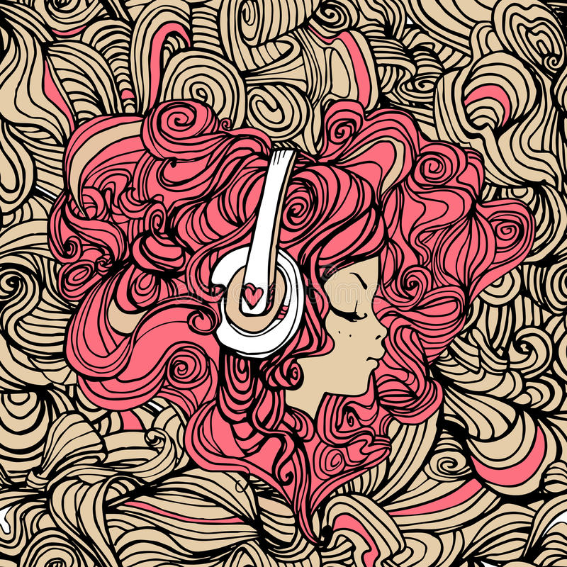 милые наушники девушки иллюстрация штока