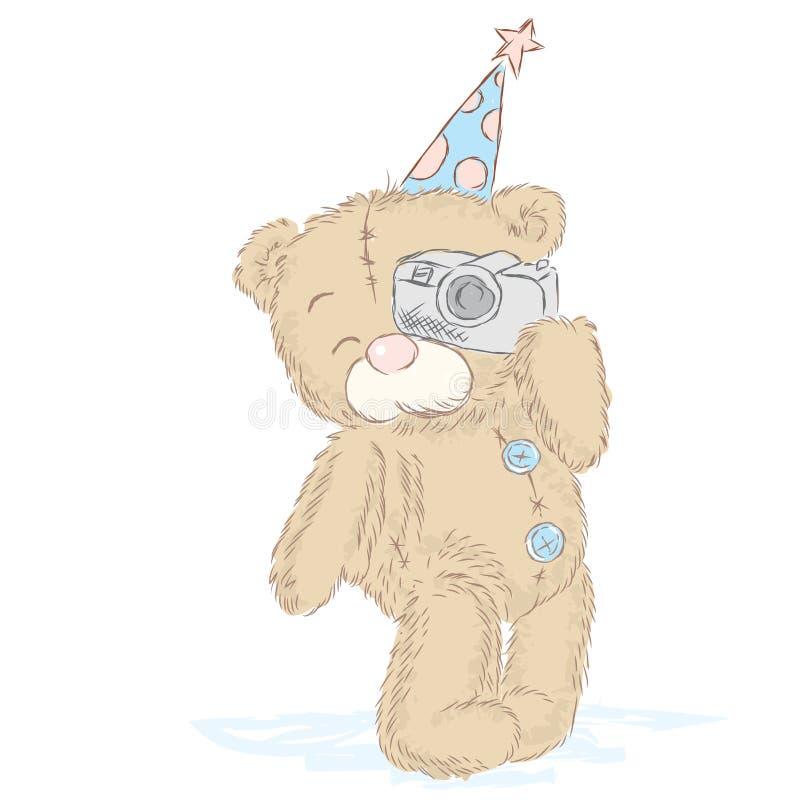 Милые новички медведя которые нарисовали вручную Милый вектор плюшевых медвежоат Торжество Партия иллюстрация вектора