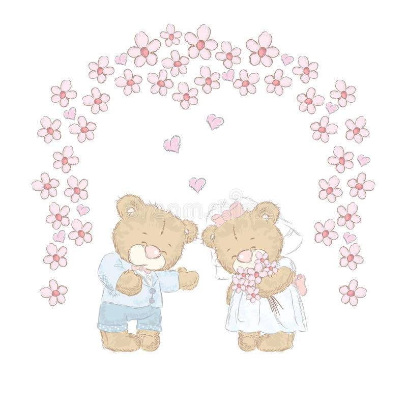 Милые новички медведя которые нарисовали вручную Милый вектор плюшевых медвежоат венчание иллюстрация вектора