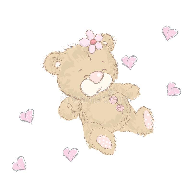 Милые новички медведя которые нарисовали вручную Плюшевый медвежонок вектора иллюстрация вектора