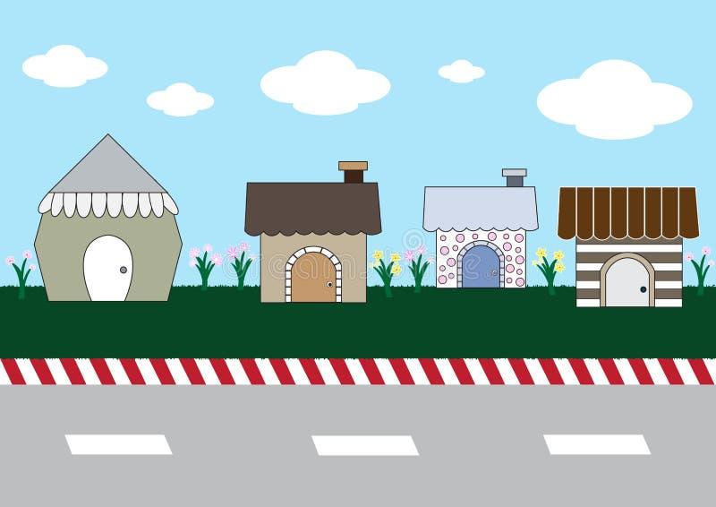 Милые дома шаржа на улице иллюстрация штока