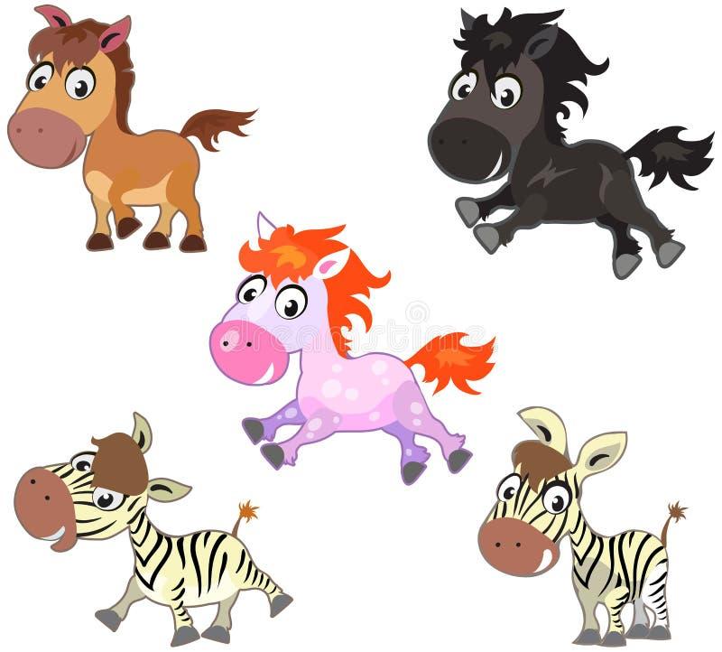 Милые лошади шаржа бесплатная иллюстрация