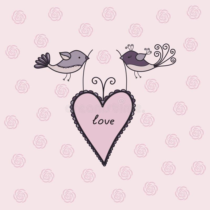 Милые пары милых птиц иллюстрация вектора