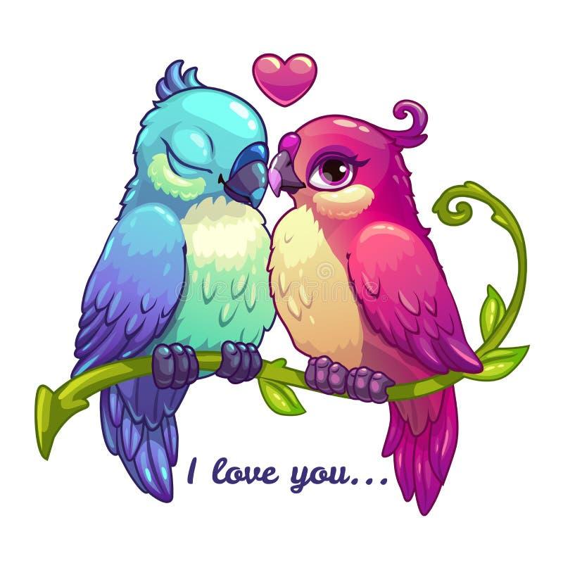 Милые пары птиц в влюбленности иллюстрация вектора