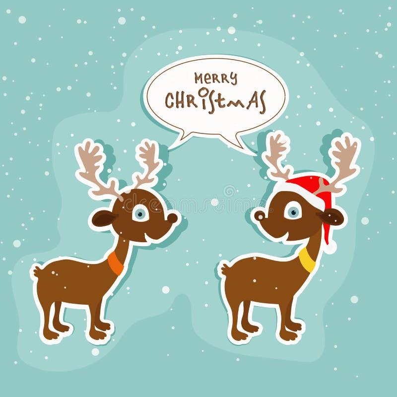 Милые пары северного оленя для с Рождеством Христовым торжества иллюстрация вектора