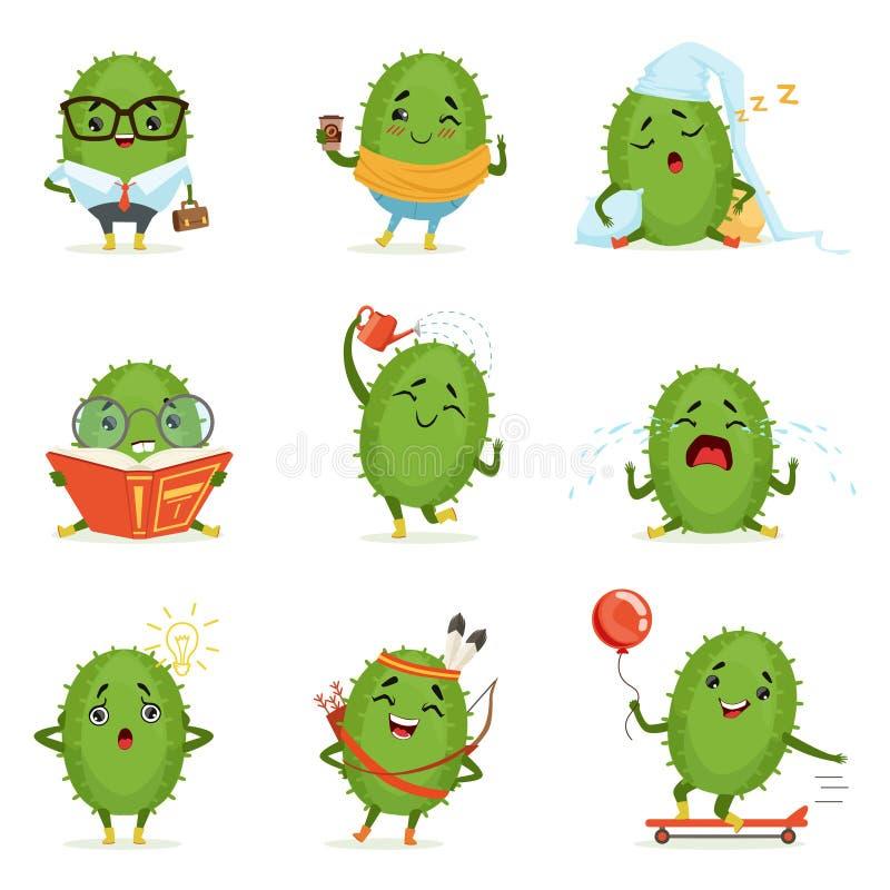 Милые персонажи из мультфильма кактуса установили, деятельности при кактусов с различными эмоциями и представления, красочный дет иллюстрация штока