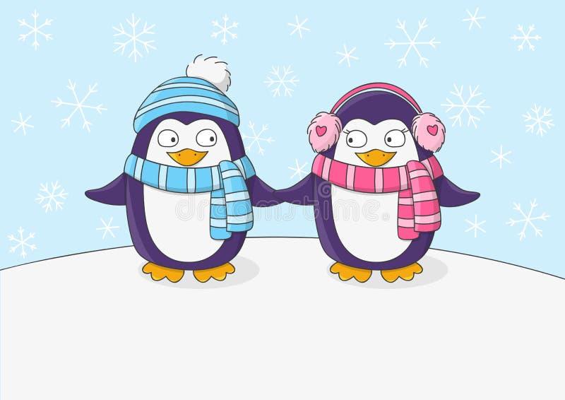 Милые пингвины на предпосылке снега бесплатная иллюстрация