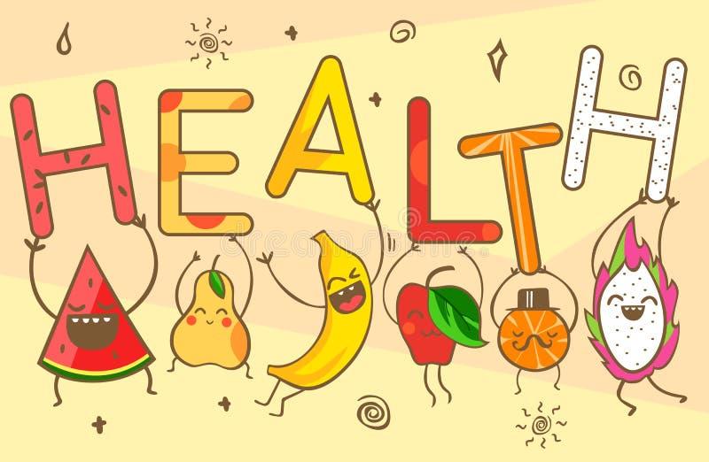 Милые плодоовощи шаржа kawaii носят литерность здоровья Здоровые продукты питания: арбуз, банан, мандарин, яблоко, ананас, лимон, иллюстрация штока
