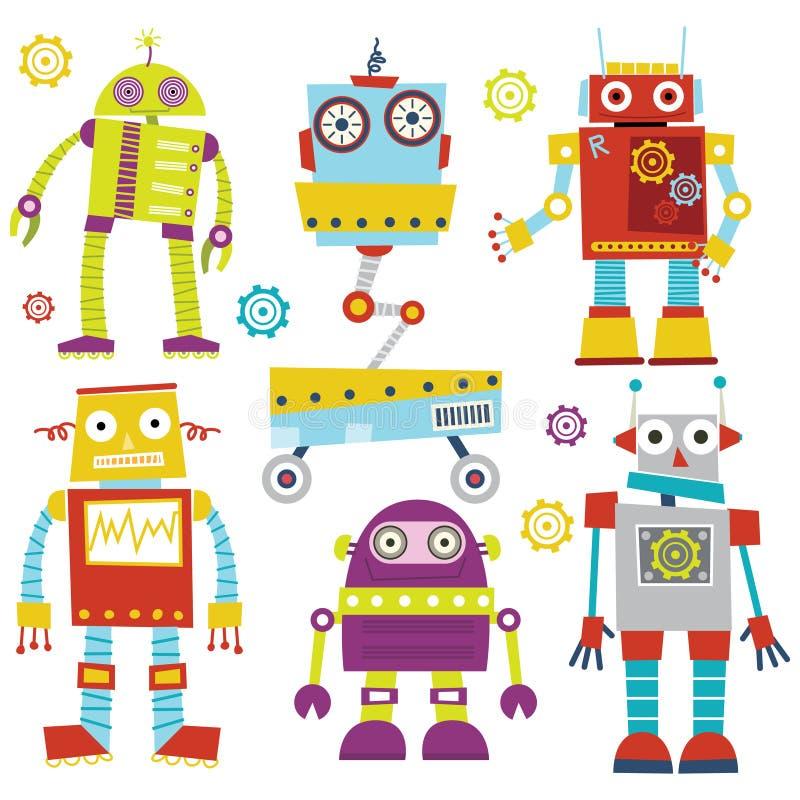 Милые роботы иллюстрация вектора
