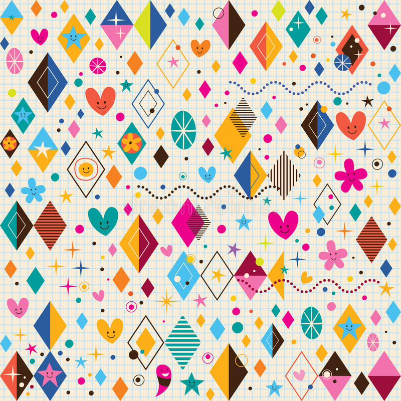 Милые сердца, звезды, цветки и блокнот форм диаманта ретро завертывают картину в бумагу иллюстрация вектора