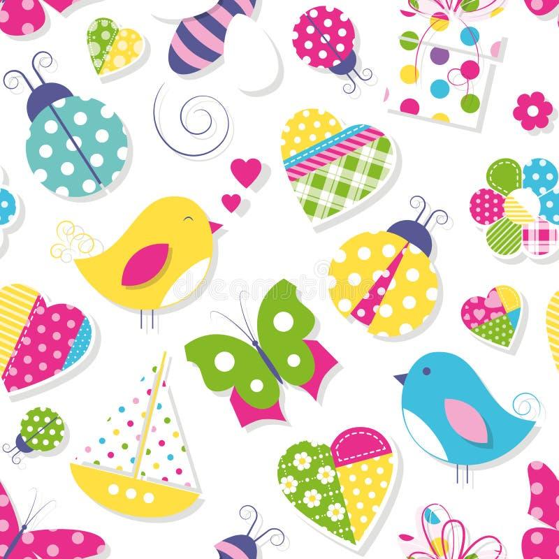 Милые сердца цветут картина игрушек и животных иллюстрация вектора