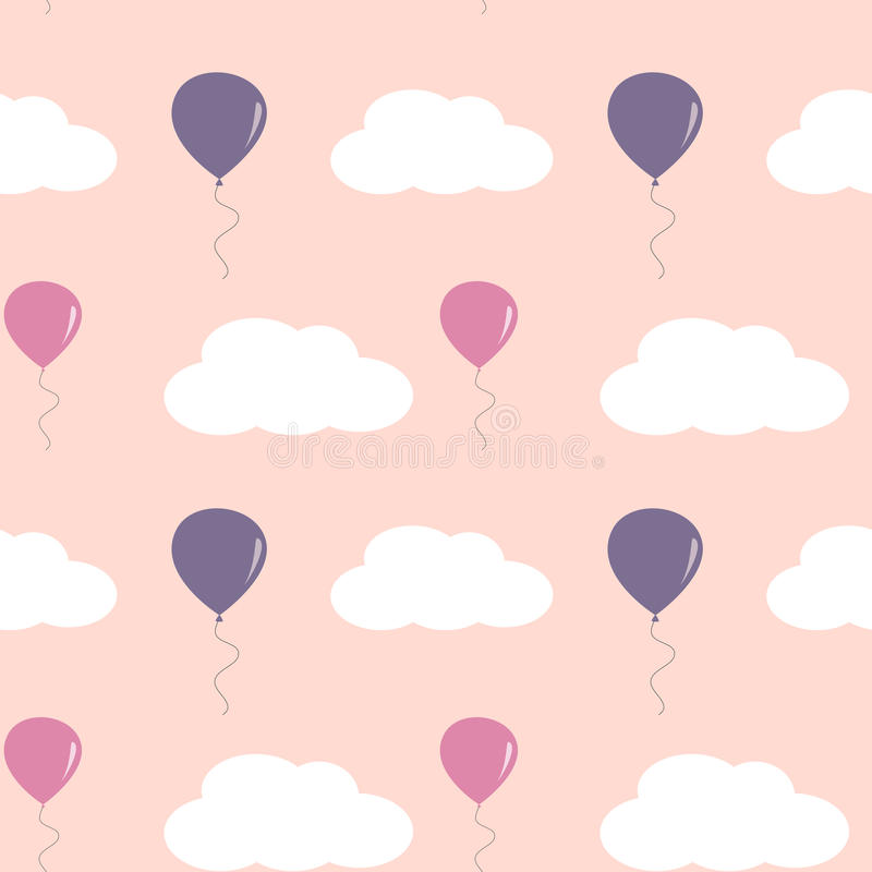 Милые симпатичные воздушные шары в розовом небе с белизной заволакивают безшовная иллюстрация предпосылки картины иллюстрация штока