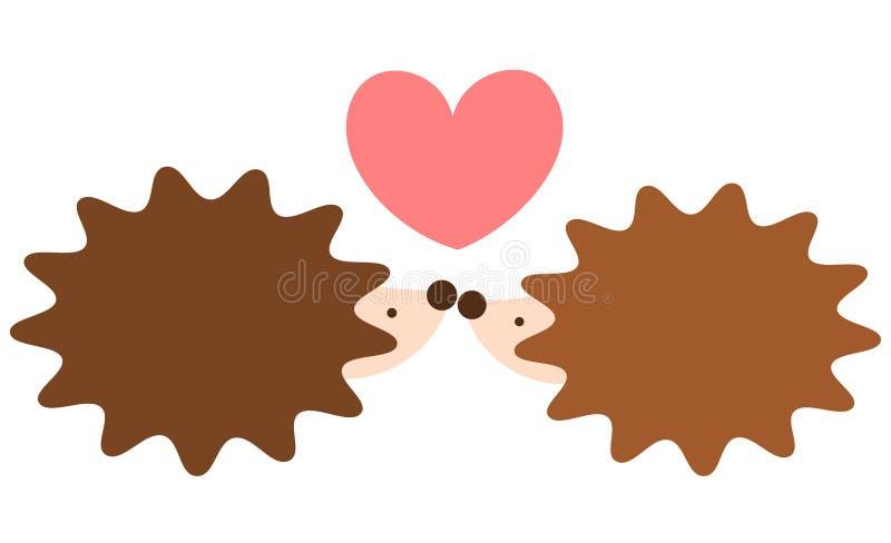 Милые симпатичные пары ежа шаржа в иллюстрации влюбленности романтичной иллюстрация вектора