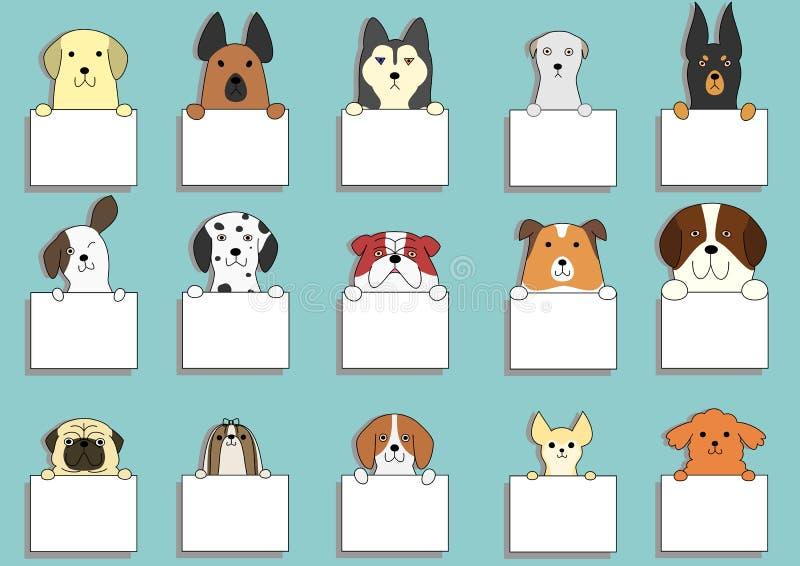 Милые собаки с карточками иллюстрация штока