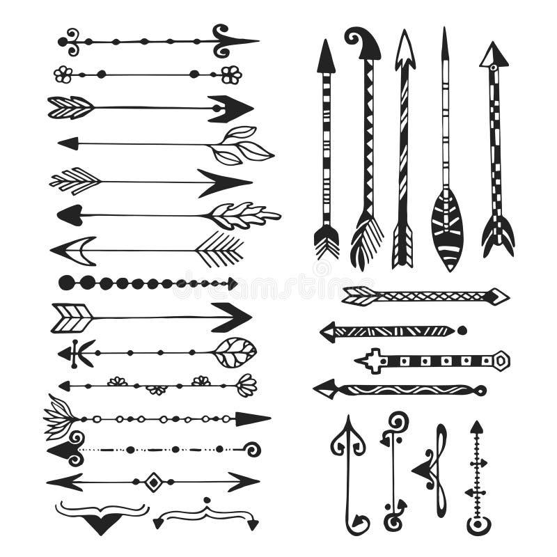 Милые стрелки, рука нарисованные установленные doodles Племенной, этнический, стрелки битника делают эскиз к собранию для дизайна иллюстрация вектора