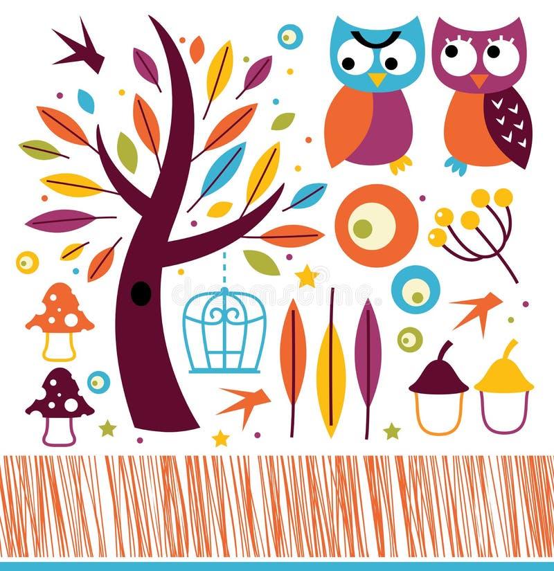 Милые сычи осени и элементы дизайна бесплатная иллюстрация