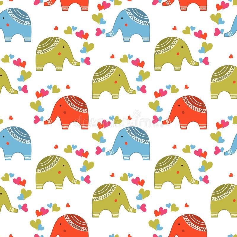 Милые слоны в картине влюбленности иллюстрация штока