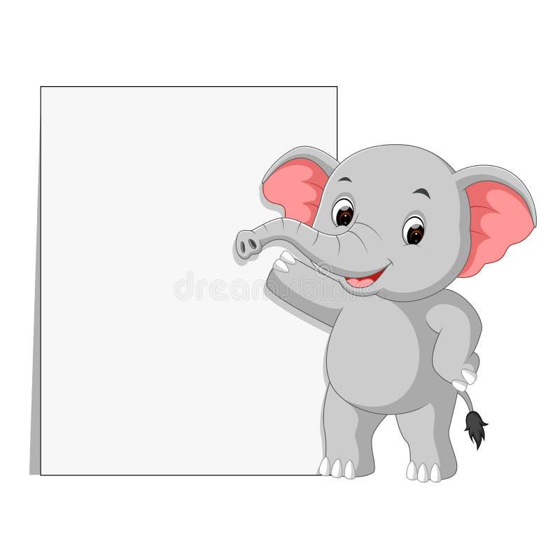 Милые слоны с пустым знаком иллюстрация вектора