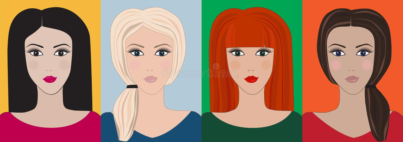 Милые установленные девушки очарования иллюстрация штока