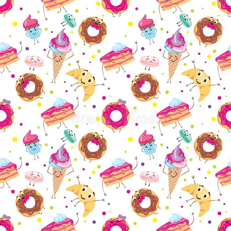 милые установленные десерты Donuts, булочки, макаронные изделия, кофе, чай, чашка, торт, мороженое и круассан Усмехаясь помадки х иллюстрация штока