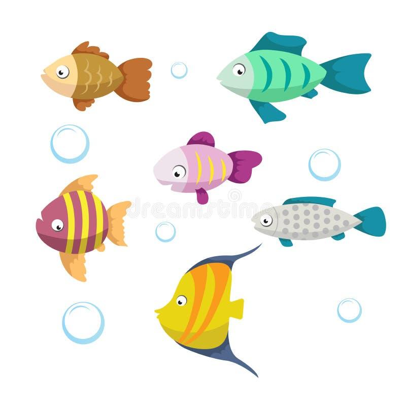 Милые установленные значки иллюстрации вектора рыб кораллового рифа Собрание смешных красочных рыб Персонажи из мультфильма изоли бесплатная иллюстрация