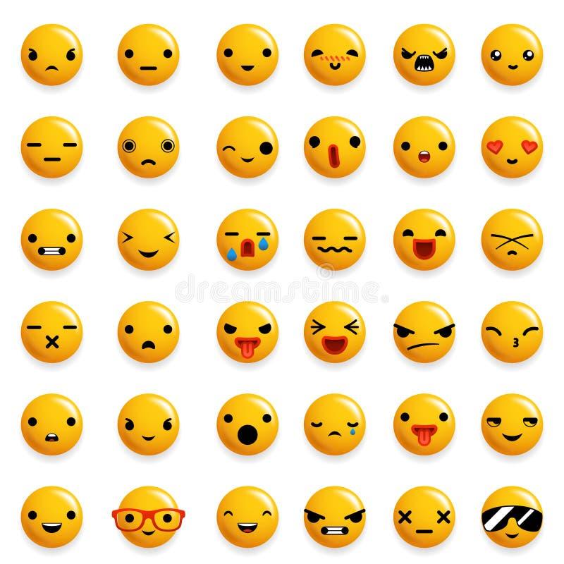 Милые установленные значки Emoji улыбки смайлика изолировали реалистическую иллюстрацию вектора дизайна 3d бесплатная иллюстрация