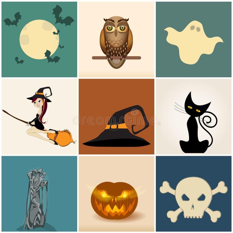 милые установленные иллюстрации halloween иллюстрация вектора