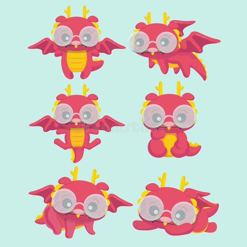 Милые установленные драконы шаржа бесплатная иллюстрация