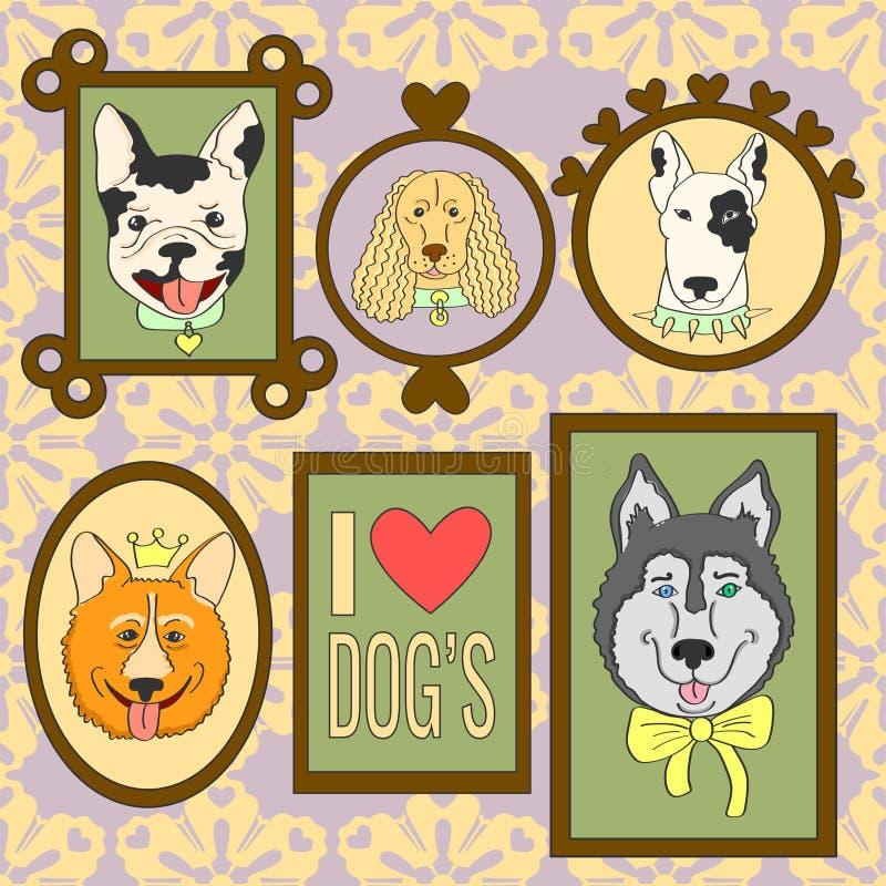 Милые установленные собаки Бульдог, Corgi, Spaniel кокерспаниеля, сибирская лайка, бультерьер, французский бульдог бесплатная иллюстрация
