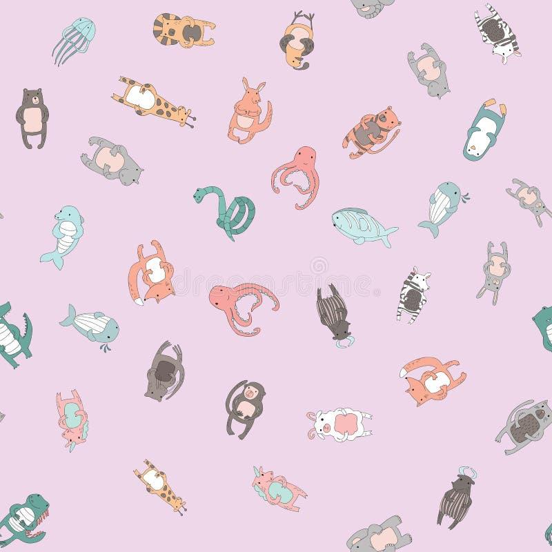 Милые характеры животного шаржа Безшовная картина, иллюстрация вектора в простом стиле иллюстрация штока