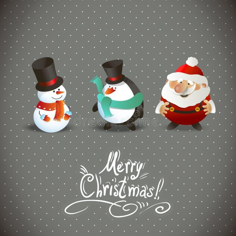 Милые характеры рождества бесплатная иллюстрация