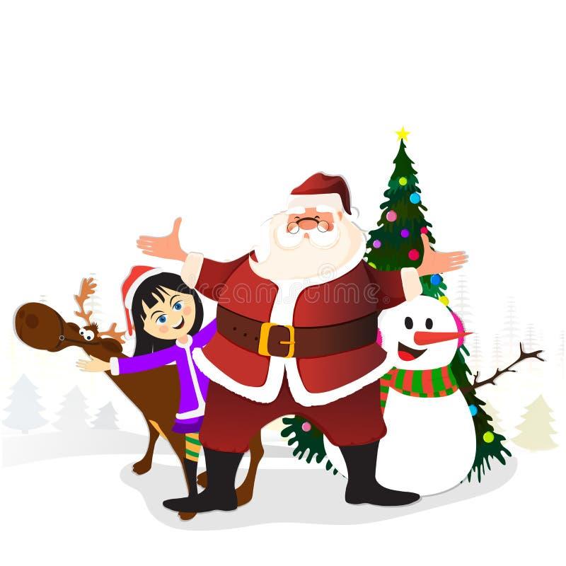Милые характеры для с Рождеством Христовым торжества иллюстрация штока