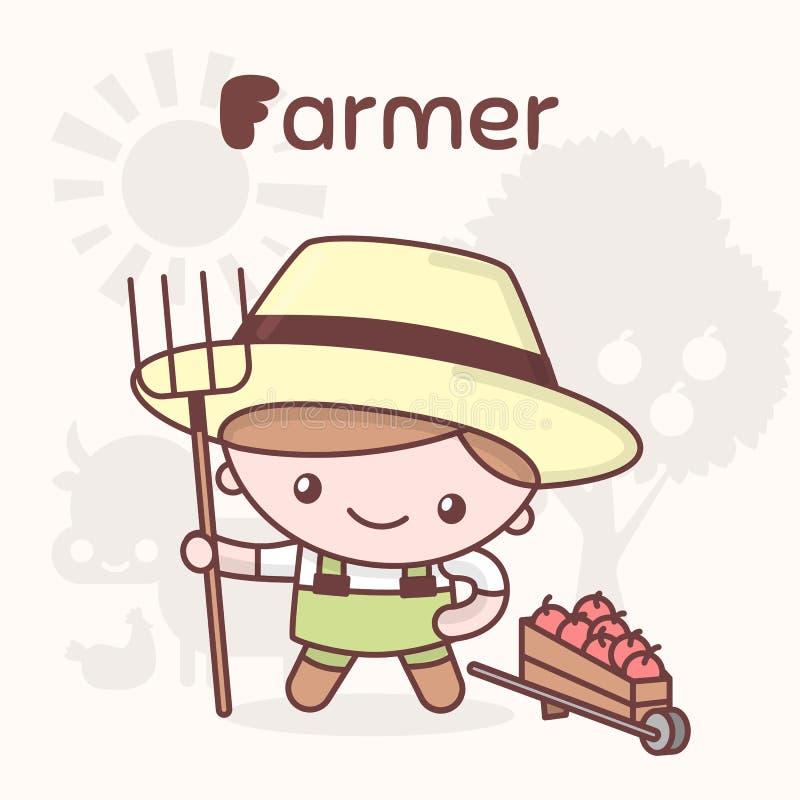 Милые характеры kawaii chibi Профессии алфавита Письмо f - фермер иллюстрация штока