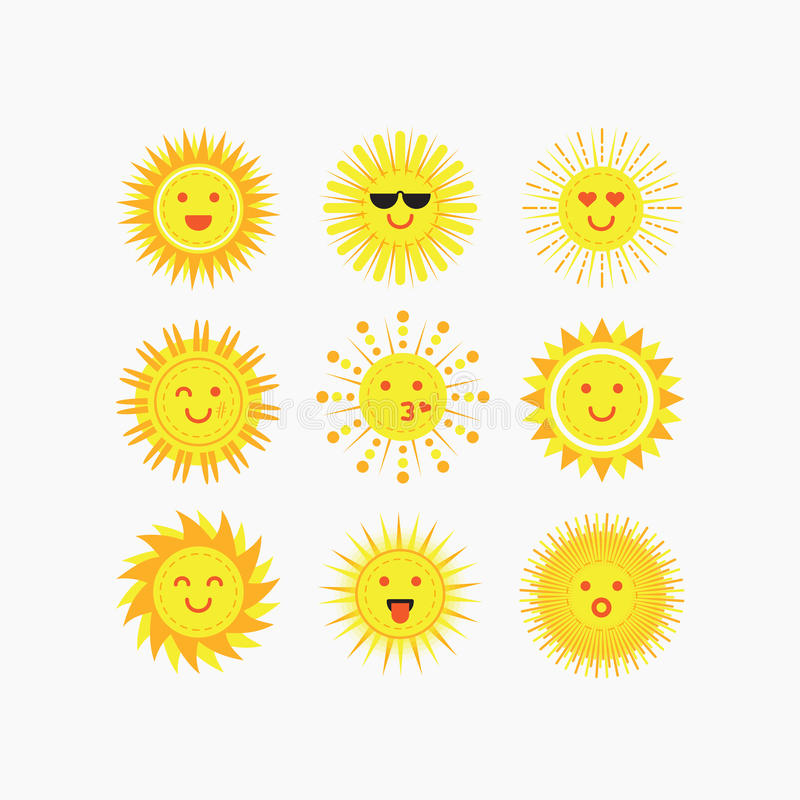 Милые эмоциональные усмехаясь установленные значки сторон солнца иллюстрация штока