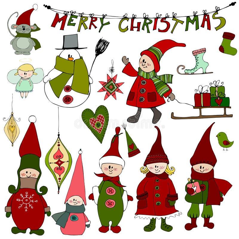 Милые элементы и эльфы рождества бесплатная иллюстрация