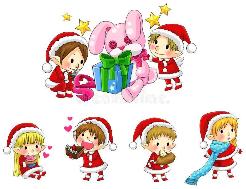 Милые эльфы рождества в установленном собрании стиля шаржа (вектор) иллюстрация штока