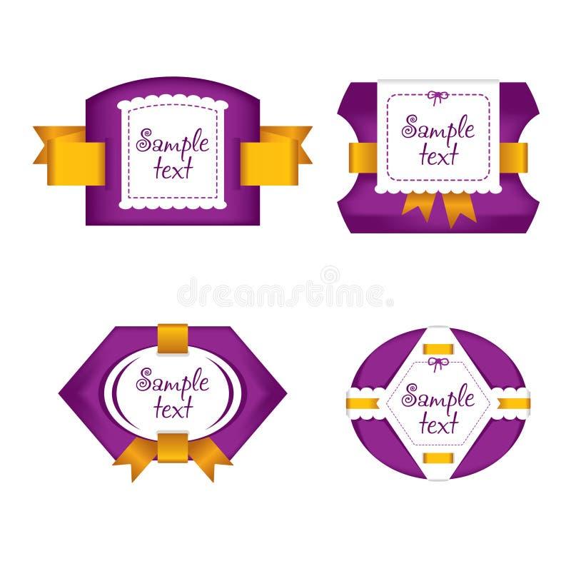 Милые ярлыки пурпура с золотыми лентами стоковые изображения
