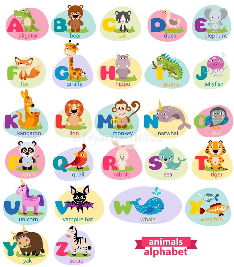 Милый английский язык проиллюстрировал алфавит зоопарка с милым животным шаржа иллюстрация вектора