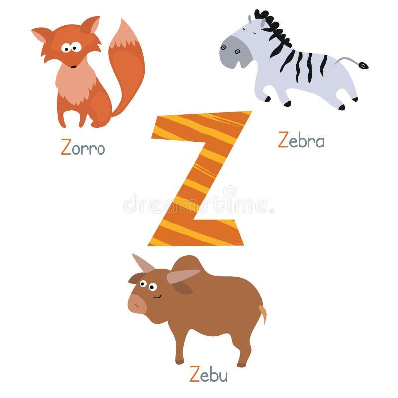 Милый алфавит зоопарка иллюстрация штока