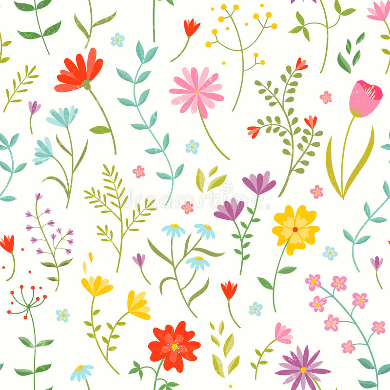 Милый безшовный цветочный узор с цветками весны иллюстрация вектора
